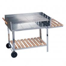 BBQ Collection Trolly Barbecue-Grill RVS/Hout